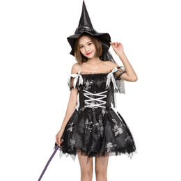 Wholesale Halloween Dress Witch - Black Beautiful Elf Mini Dress Women Halloween Party Costume Off Shoulder Sexy Tutu Dress Naughty Witch Cosplay Dress