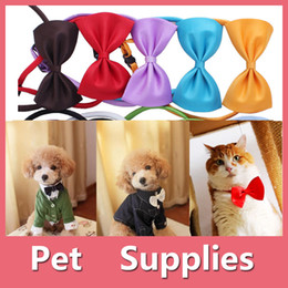 Wholesale Cute Red Jackets - New Colorful Hot Dog Cat Pet Puppy Toys Kids Cute Bow Tie Necktie Collar Clothes Blue Red Pink Black
