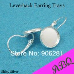 Wholesale Earring Lever Back Set - 12mm Shiny Silver Earring Trays with Lever Back Clip, Blank Bezel Earring Setting Inner Size 12MM