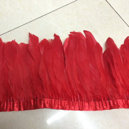 Wholesale Turquoise Lime Orange - Cheap Goose Feather Trimming Feather Fringes 2meters lot White Orange Fushia Pink Purple Royal Blue Turquoise Black Red Yellow Lime Green