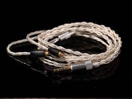 Wholesale Headphone Diy - Wholesale-silver plate DIY upgrade Earphone Cable For shure SE215 SE425 SE535 SE846 UE900 1.2m audio cable headphone repair cable
