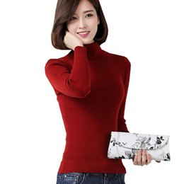 Wholesale Slim Fit Cashmere Sweater - Wholesale- Cashmere ribbed jumpers women slim fit roll neck sweaters ladies plus size turtleneck knitted tops slim fit oversized knitwears
