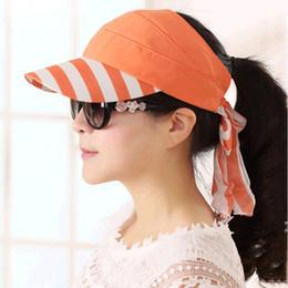 Wholesale Ladies Stylish Summer Tops - Wholesale- 2016 spring and summer Elegant ladies Stylish simplicity Large brimmed sun protection Cap stripe empty top hat Women's hats