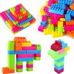 Wholesale Toy Animal Image - Wholesale-80Pcs Children Puzzle Educational Building Bricks Toy Animal Plastic intellectual Birthday Gift For Kids Image Training