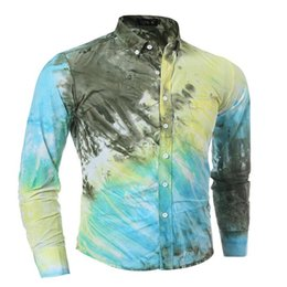 Wholesale Men S Pink Dress Tie - Wholesale-New high quality 3 d tie-dye printing splicing men shirt cool and refreshing summer leisure Hawaii mens dress shirts
