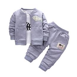 Wholesale Fish Suit - 2017 Baby Children Clothing Sets Boys Cotton Coat + shirt + trousers 3pcs fish bone Suits Autumn And Winter Children Tracksuits