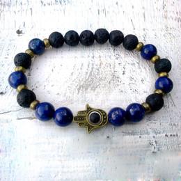 Wholesale Lapis Lazuli Wholesale Jewelry - SN0295 Fashion Design Jewelry Lapis Lazuli Hamsa bracelet Lava Hamsa bracelet Lapis and Lava Man Good Luck bracelet