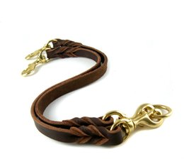 Wholesale Wholesale Handmade Dog Collars - Two  Three Dogs With One Lead Handmade Braided Cowhide Leash For Medium Large Dog Soft Durable Leather Collars & Leads