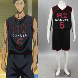Wholesale Kuroko Cosplay Jersey - High Quality Basketball Jersey Cosplay Kuroko no Basuke Daiki Aomine NO.5 Cosplay Costume Sports Wear Top+Shirt Black