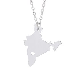 Wholesale India Stainless Jewelry - India Map Pendant Necklace with Love Heart Geography Geometry Necklaces Stainless Steel Women Charm Jewelry Wholesale