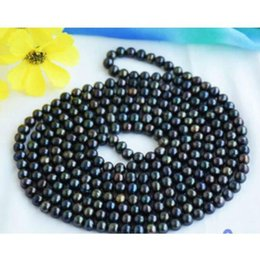 """Wholesale 8mm South Sea Pearls - 2016 new AAA+7-8mm round black south sea pearl necklace 14K 32"""""""