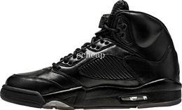 Wholesale Suit Canvas - Air Retro 5 Premium Black Basketball Shoes Mens Air Retro 5 PRM Triple Black Air Retro 5 Flight Suit Sneakers size us 8-13