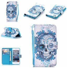 Wholesale Iphone Leather Case Stylus - Skull Dreamcatcher Wallet Leather For Iphone 7 Plus 6 6S SE 5 5S Touch 6 5 For LG K7,G Stylo 2 Stylus 2 LS775 Flower Flip Cover Pouch+Strap
