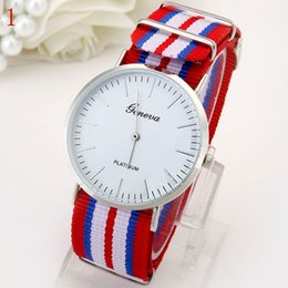 Wholesale Watch Geneva Plastic - Free shipping color ring calendar watch Fashion watch New fashion Geneva nylon woven strap