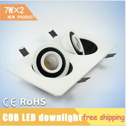 Wholesale Rotary Light Switch - 7W*2 Double Heads COB ceiling lights ,360 deg Square Rotary Gimbal Led Recessed Grid Ceiling Lamp for bedroom