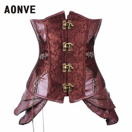 Wholesale Gothic Corset Buckle - Wholesale-Steampunk Corset Underbust Corsets And Bustiers Steel Bone Gothic Clothing Faux Leather Corset Cincher Front Buckle Brown