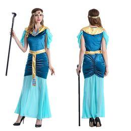 Wholesale Indian Girl Halloween Costumes - Halloween cleopatra Greek goddess serve Arab girl princess dress green, cultivate one's morality dress