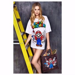 Wholesale Shirt Mario - 2016 Spring and Summer Super Mario French Brand T Shirt Women Character Barbie Cartoon Short Sleeve Tops for Woman High Quality Shirts