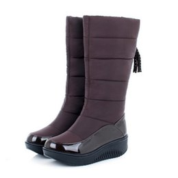 Wholesale Flat Platforms Boots - Wholesale-New Arrival Women Snow Boots Keep Warm Fur Shoes Thick Flat Heels Platform Shoes Casual Dress Slip On Soft Autumn Winter Boots