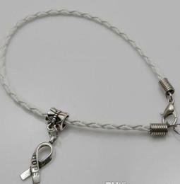 Wholesale Red Craft Beads - 100pcs lot Hope Breast Cancer Awareness Ribbon Charm Pendant Leather Rope Cham Bracelet Fit for European Bracelet Handmade Craft DIY