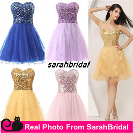 Wholesale Sexy Shorts For Sale - Short Gold Sequin Cocktail Graduation Dresses for 2016 Homecoming Prom Sweet Sixteen Dance Party Gowns Hot Sale Plus Size Lace up Under 50