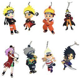 Wholesale Naruto Sasuke Figures - 10 pcs lot Naruto Character Uzumaki Kakashi Sasuke Sakura figure Pendant with Ring PVC Rubber keychain Anime cartoon accessory