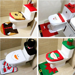 Wholesale Media Seating - New 4 styles Christmas Toilet Seat Cushion Bathroom creative layout supplies Three piece suit Christmas decorations IA693