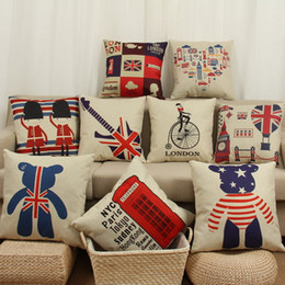 Wholesale British Decorations - Pillowcases Europe and the United States Simple British Pattern Pad Covers London Street Thick Cotton and Linen Pillow Sets Home Decoration