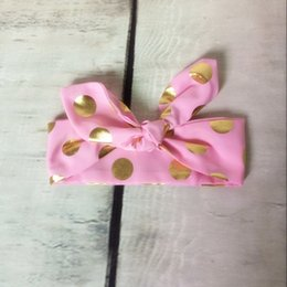 Wholesale Baby Pink Bow Tie - baby headband , Princess Pink Gold Headband ,Newborn top knot bow tie headband ,Gold Metallic baby girls hair accesorry ,Pink baby head wrap