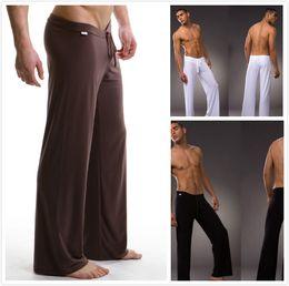 Wholesale Yoga Pants Men Loose - Wholesale-2016 Black Gray Black White Men Sexy Silky Lounge Loose-fitting Baggy Sporting Yoga Pants Pyjama Men Pajamas Sleepwear Trousers