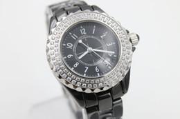 Wholesale women diamond ceramic watches - Popular Sale Quartz Watch Women Diamond Case Black Dial Ceamic Band Female Clock Montre Homme