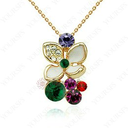 Wholesale Colorful Rhinestone Statement Necklaces - Yousfs Fashion Christmas Gifts Necklace 18K Rose Gold Plated GP Colorful Flower Crystal Clover Pendant Statement Necklace For Women Jewelry