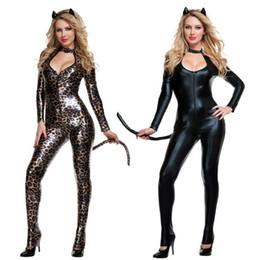 Wholesale Sexy Woman Cosplay - High Quality Female Sexy Black Leopard Catwoman Costume Low Cut Out Leather PU Bodysuit Fantasia Cat Tail Ears Halloween Clubwear Cosplay
