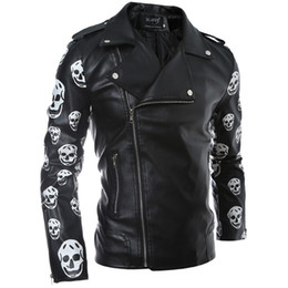 Wholesale Jeans Leather Sleeves - Brand Men Leather Jackets Motorcycle Biker Jeans Outwear Autumn Coats Slim Winter Clothes M L XL XXL Fashion Style