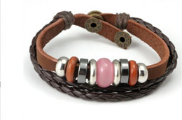 Wholesale Leather Wrist Band Braided - Wholesale Men's Braided Leather Charm Wrap Bracelet for Men Vintage Braided Wrist Cuff Band Punk Rock Casul Style