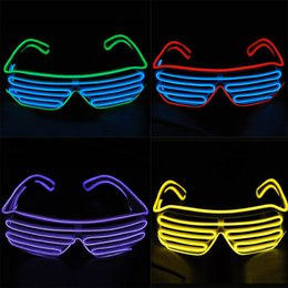 Wholesale El Glow Neon Light Wire - Blue el glasses El Wire Fashion Neon LED Light Up Shutter Shaped Glow Rave Costume Party DJ Bright Glasses