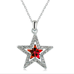 Wholesale Korea Wholesale Gold Necklace - Free Shipping South Korea jewelry Austrian crystal Pentagram pendant necklace,white gold plated collarbone chain wholesale price