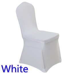 Wholesale Hotel Spandex - Colour white cheap chair cover spandex lycra elastic chair cover strong pockets for wedding decoration hotel banquet wholesale