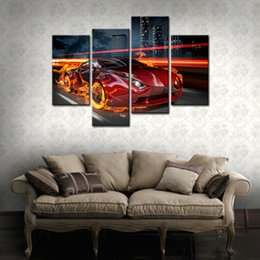 Wholesale Frames Fire - 4 Pieces Fire Red Car Running Arcoss the City Building Cartoon of Paintings Prints on Canvas For Home Decor with Wooden Framed