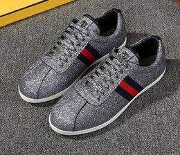 Wholesale Sequins Sneakers - Luxury Brand Style Women Flats Shoes Lace Up Breathable Sequins Rivet Genuine Leather Fashion Top Quality Walking shoes Sneakers + BOX nwe