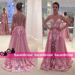 Wholesale High Neck Lace Dress Peplum - 2016 Arabic Peplum Long Sleeve Evening Prom Dresses Said Mhamad Pink Sheath Sheer Neck Jewel Applique Long Celebrity Wear Formal Party Gowns