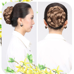 Wholesale Hair Bun Braided - Sara New Style Women's Hair Bun Bride Chignon Bun Clip Hairpiece,Knitted Hair Mesh Chignon, Synthetic Hair Donut Roller Chignon,10CM*6CM