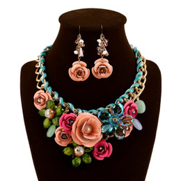 Wholesale plastic flower rings - Fashionable Jewelry Sets Women Flower White K Necklace Earrings Sets Jewelry Set Rose Gold Plate Crystal Enamel Earring Necklace Ring Flower