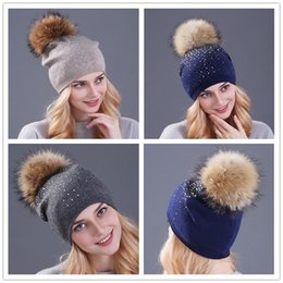 Wholesale Raccoon Hair - 2017 New Rhinestone Beanies for Women Spring Glitter Knitted Winter Cap Solid Color Skull Slouchy Beanie Hats with Raccoon hair ball z081