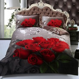 Wholesale Pillow Shams Roses - Wholesale-Romantic 3D Printed Red Rose 4-Piece Bedding Set Linen, Includes Duvet Cover,2 Pillow Sham, Fitted Sheet