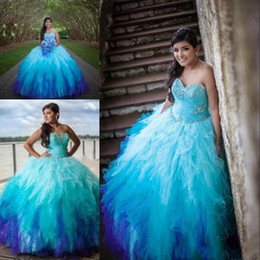 Wholesale Colored Water Beads - Sweetheart Rainbow Colored Quinceanera Dresses 2016 Crystal Beading Tulle Ruffle Skirt Ombre Sweet 15 Prom Dresses Ball Gowns size 16