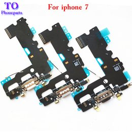 Wholesale Usb Replacement Connector - 50pcs USB Charging Charger Port Dock Connector Flex Cable For iPhone 7 7 plus 4.7 5.5Inch Audio Microphone Flex Replacement Part