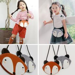 Wholesale Fabric Shoulder Purse - 2 Color children Fashion cartoon fox wallet 2016 new girl cute fox bag fox purse Handbag wallet 12*17Cm