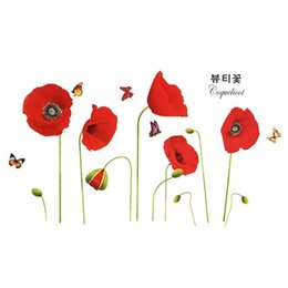 Wholesale Decoration Flower Pieces For Paper - Best Promotion Beautiful Design Flower Corn Poppy Butterfly Removable Wall Sticker Wallpaper Home Art Decor Decoration Gift