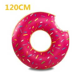 Wholesale Swimming Pools Inflatables - Giant Inflatable Donut Pool Float Water toys PVC Swimming Ring pool floats for adults Kids flotadores para piscina 90cm 120cm